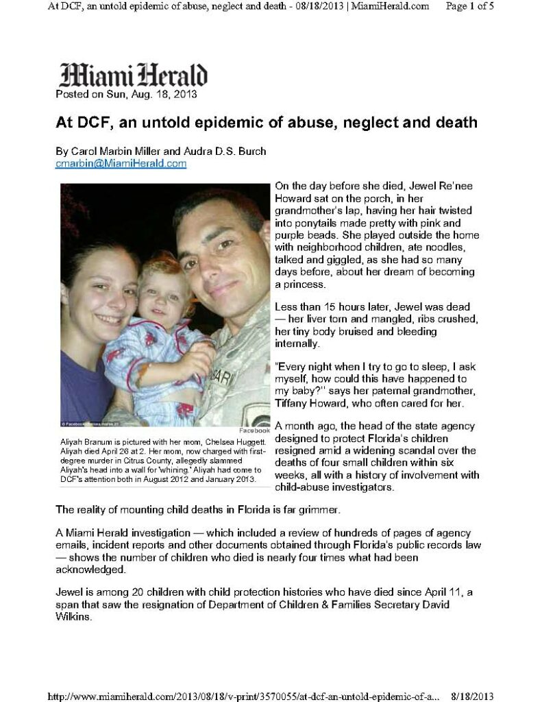 Article - At DCF and Untold Epidemic of Abuse Neglect and Death 8-18-13_Page_1