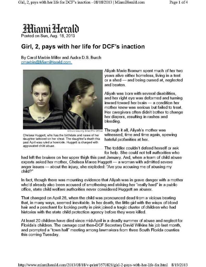 Article - Girl 2 Pays With Her Life For DCF''''''''s Inaction - Miami Herald 8-19-13_Page_1